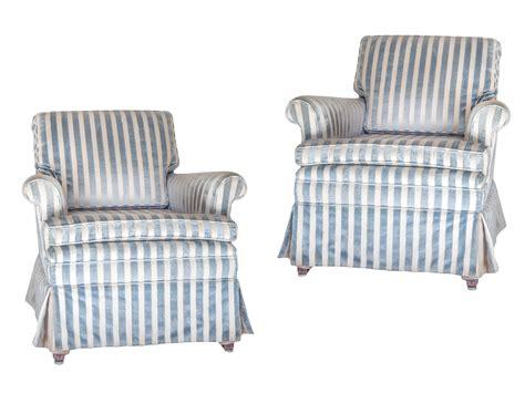 blue and white striped club chair blue white stripe club chairs a pair chairish