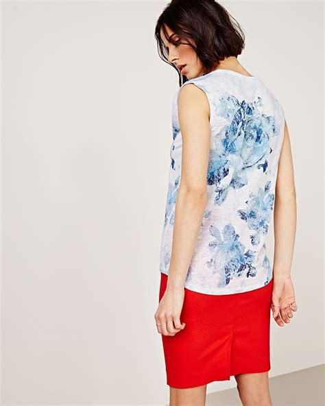 Sleeveless Print T Shirt sleeveless linen t shirt with flower print rw co