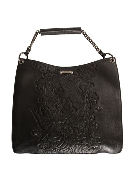 Jean Paul Gaultier Perforated Leather Purse by Jean Paul Gaultier Embossed Pattern Hobo Leather Bag In