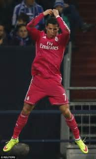 Ronaldo leaps into his trademark celebration following his opening