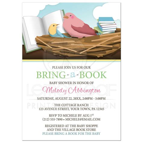 Book Baby Shower by Baby Shower Invitations Bird Nest Bring A Book