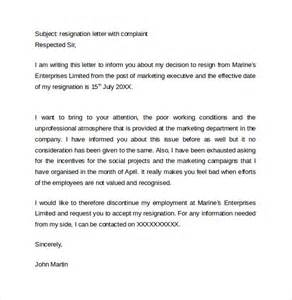 Resignation Letter With Complaint Sle Resignation Letter Format 14 Free Documents In Pdf Word