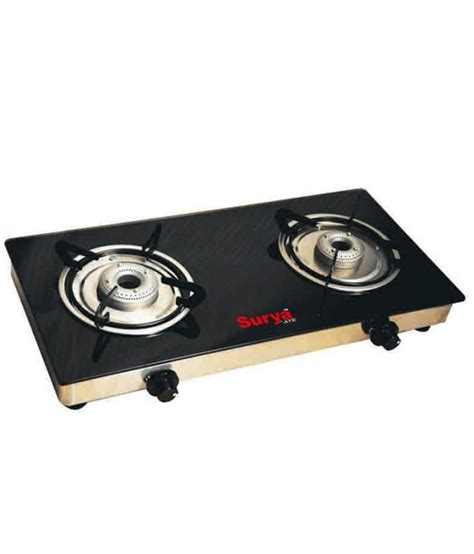 Two Burner Gas Cooktop Surya Ave 2 Burner Manual Black Gas Cooktop Price In India