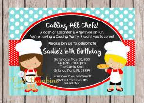 printable little chef birthday party invitation pizza