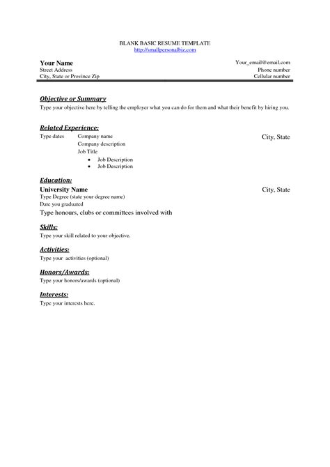 basic resume template free basic blank resume template free basic sle