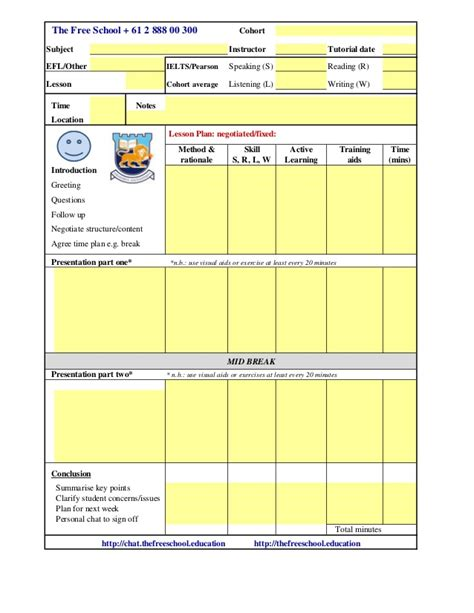 tesol esl lesson plan template