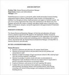 human resources description template doc 460595 human resource description human