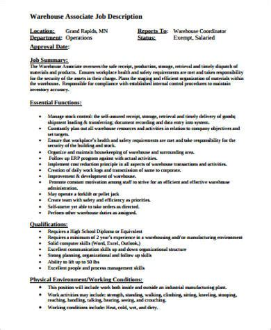 8 warehouse associate description sles sle