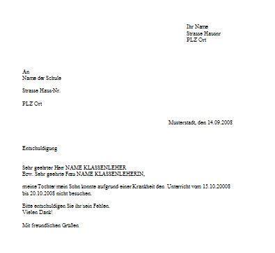 Entschuldigung Briefvorlage Briefvorlage F 252 R Schulentschuldigung Wegen Krankheit