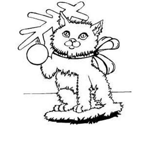 coloring pages christmas cats christmas cat with bow coloring page