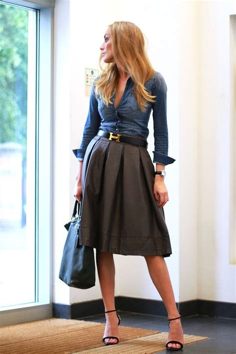 denim shirt skirt hermes belt fashion files