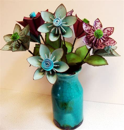 Origami Flower Arrangement - origami purple green paper flower arrangement in a
