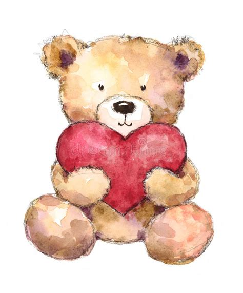valentines teddy drawing valentines day teddy holding a big watercolor