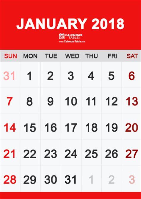 printable january 2018 calendar vertical printable january 2018 calendar calendar table calendar