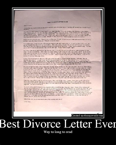 Best Divorce Letter Snopes Best Divorce Letter Picture Ebaum S World