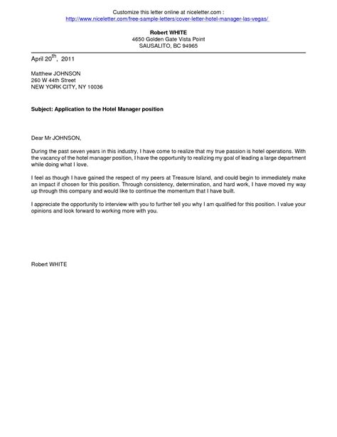Cover Letter To Hotel by Cover Letter Sles For Hotel Copy Cover Letter