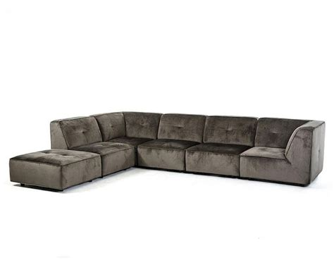 modern sectional sofa in grey fabric 44l5925
