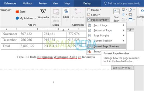 cara membuat halaman romawi dan angka di word 2013 cara membuat nomor halaman di word untuk pemula 100 rapi