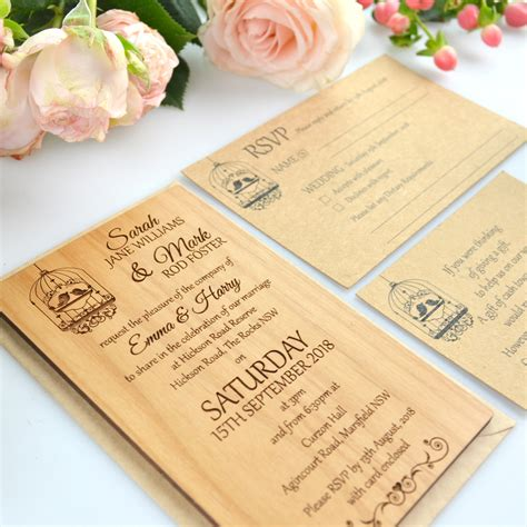 Engraved Wedding Invitations by 11b Size Engraved Wooden Wedding Invitations Wooden
