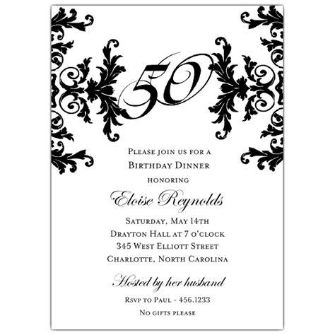 black and white decorative framed 50th birthday invitations paperstyle - Black And White 50th Birthday Invitations