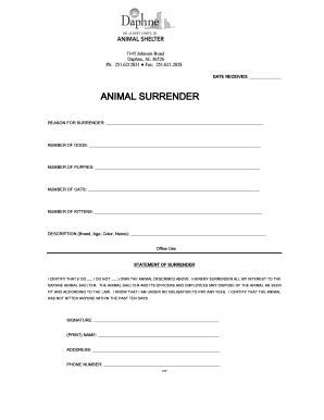 printable animal surrender forms fillable online daphneanimalshelter animal surrender form