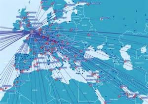 airways route map europe and the middle east