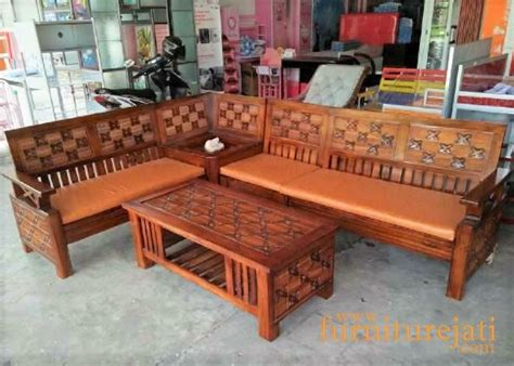 Kursi Dan Meja Sudut Kayu Jati Ukiran Khas Jepara Free Ongkir kursi tamu sudut minimalis kawung furniture jati jepara