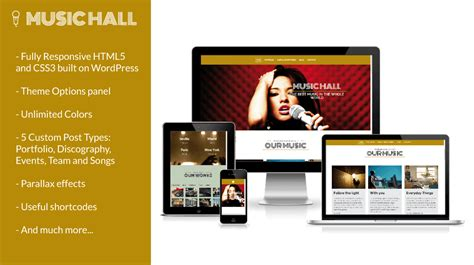 music hall wordpress theme for musicians bands