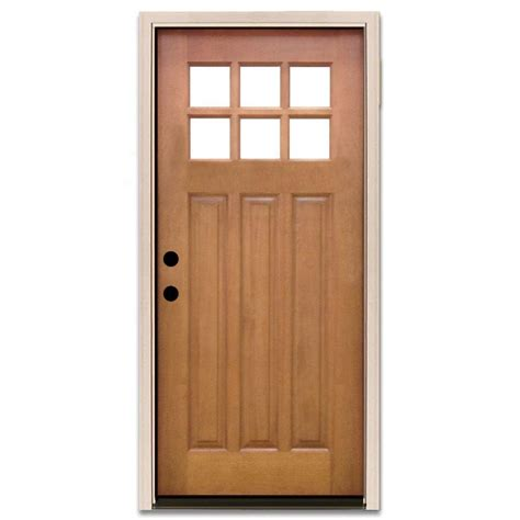 Prehung Exterior Doors Steves Sons 36 In X 80 In Craftsman 6 Lite Stained Mahogany Wood Prehung Front Door M3306 6