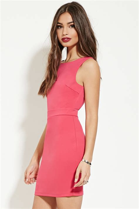 Backless Sheath Dress forever 21 backless sheath dress in pink lyst