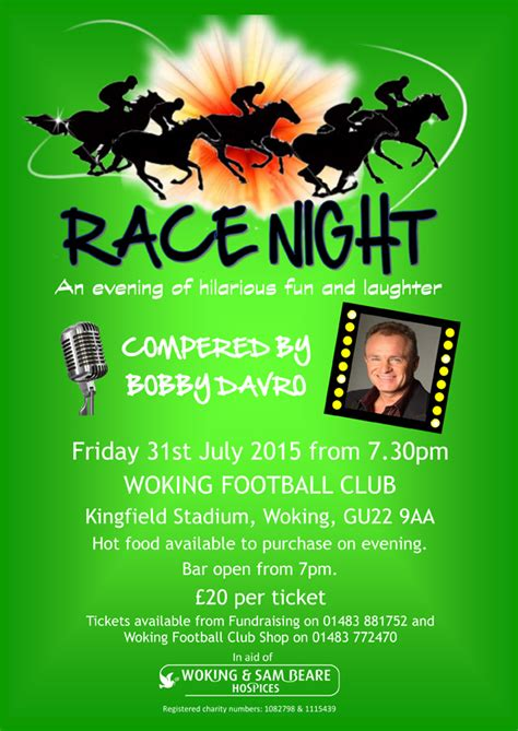 printable race night tickets woking football club news race night compered by bobby