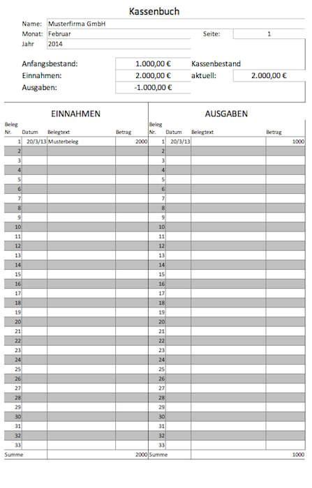 Rechnung Schweiz Umsatzsteuervoranmeldung kassenbuch vorlagen gratis f 252 r microsoft excel und als pdf