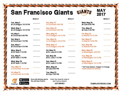 printable schedule for sf giants printable 2017 san francisco giants schedule