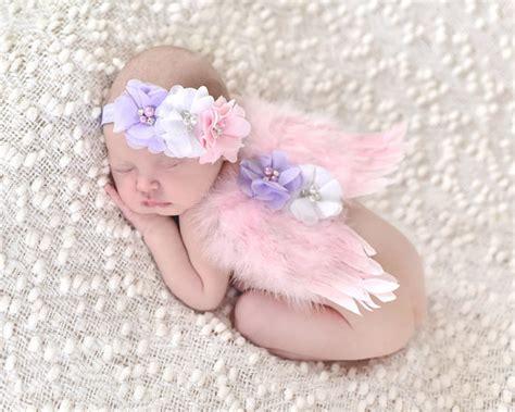 Headband Baby Jingga Flower 2 newborn feather wings rhinestone headband set baby chiffon flower headband newborn photo