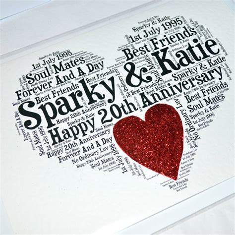 personalised 20th wedding anniversary sparkle card by sew notonthehighstreet