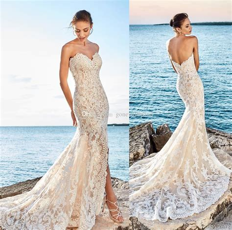 Sexy Side Slit Beach Lace Wedding Dresses 2018 Eddy K Bridal Fit And Flare Strapless Sweetheart
