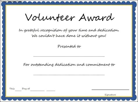 volunteer certificate of appreciation template simple volunteer award template exle with blue frame