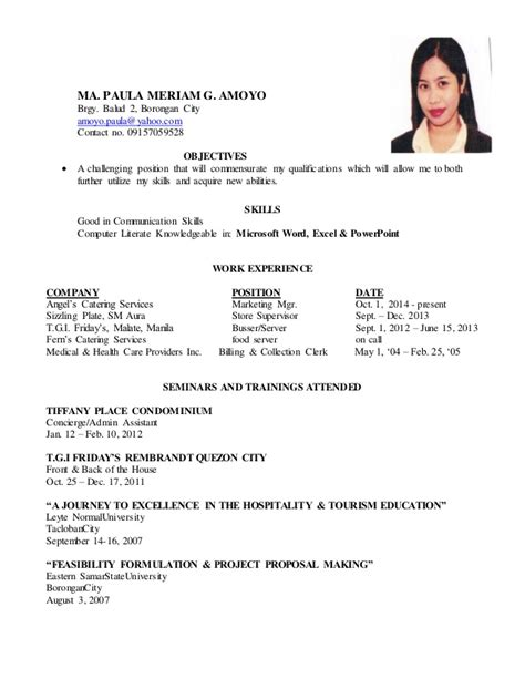 Example Of College Student Resume by Ma Paula Meriam Resume