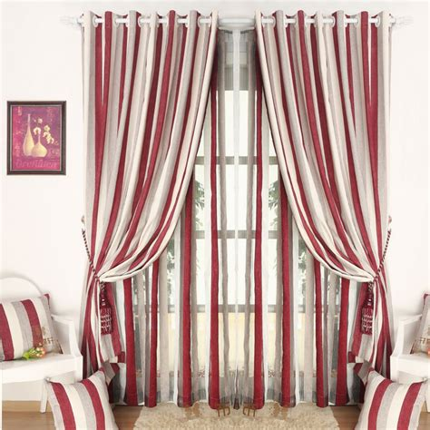 red white curtains simple chenille red white striped curtain for bedroom