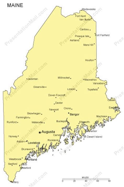 city map of maine maine outline map with capitals major cities digital