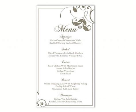 Free Printable Wedding Menu Card Templates by Wedding Menu Template Diy Menu Card Template Editable Text
