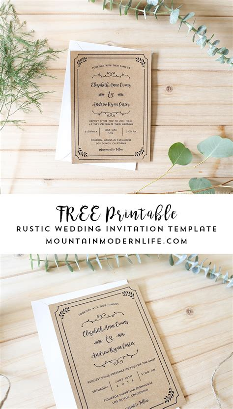 rustic card photography templates free printable wedding invitation template