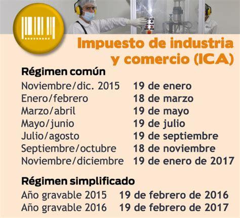 calendario impuesto industria y comercio bucaramanga 2016 tarifas de industria y comercio en colombia ao 2016 las