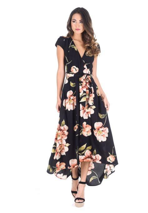 Maxi Flower Black Dress black floral v neck maxi dress