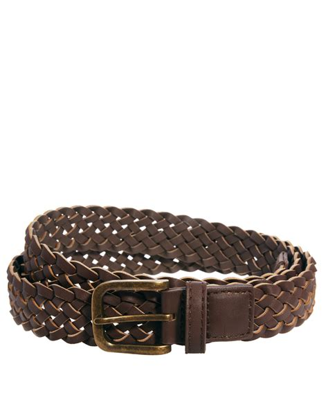 asos slim plaited belt in brown faux leather in brown for