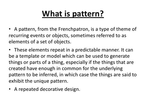 pattern of three definition life pattern