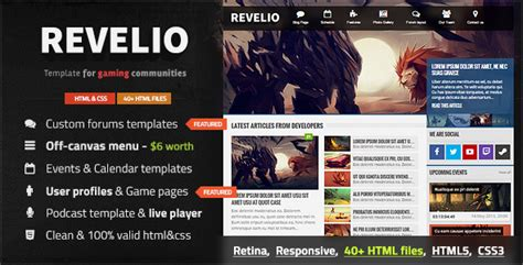 free bootstrap templates for gaming revelio the gaming template html by datcouch themeforest
