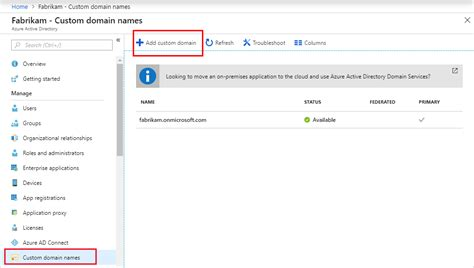 add  custom domain azure active directory