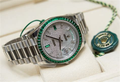 Rolex Giveaway - super rare 430 000 rolex day date 40 green emerald platinum watch hands on page 2