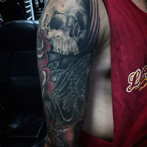 praying hands tattoo full sleeve 70 praying hands tattoo designs for men silence the mind